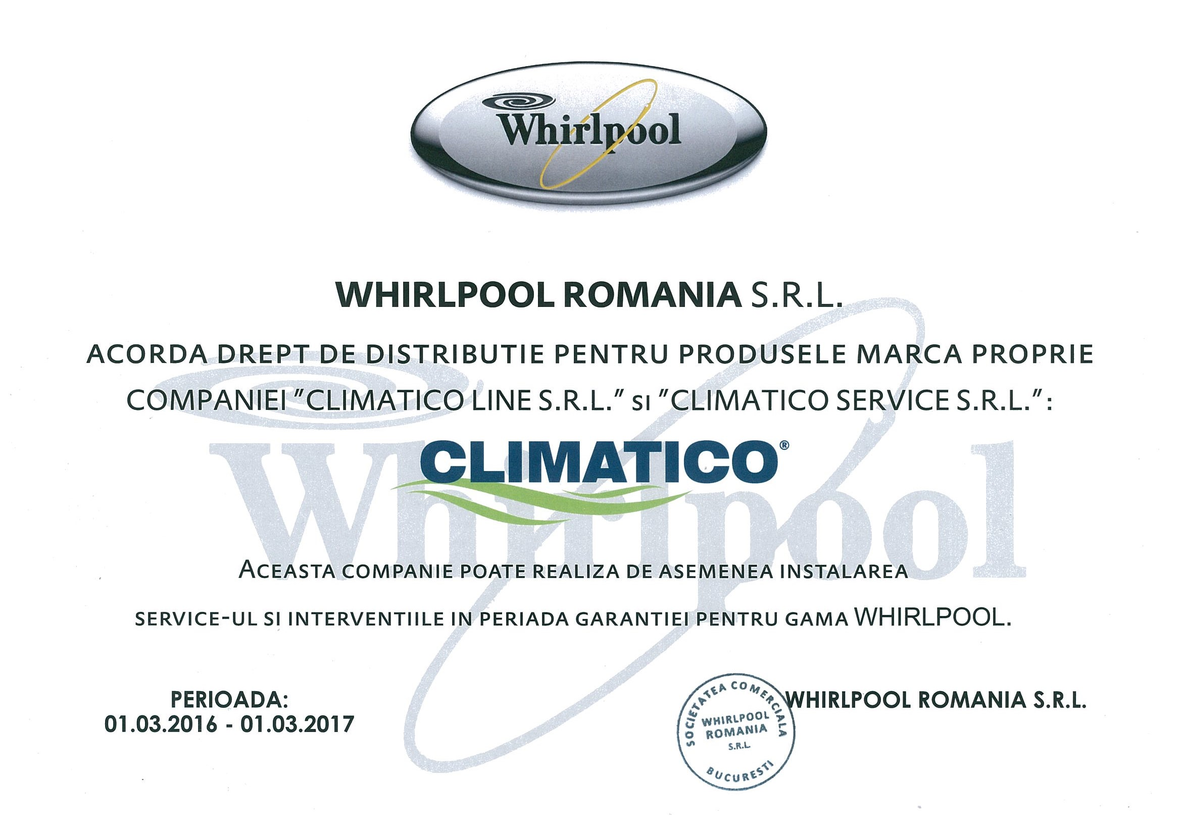 Acreditare Climatico aer conditionat Whirlpool