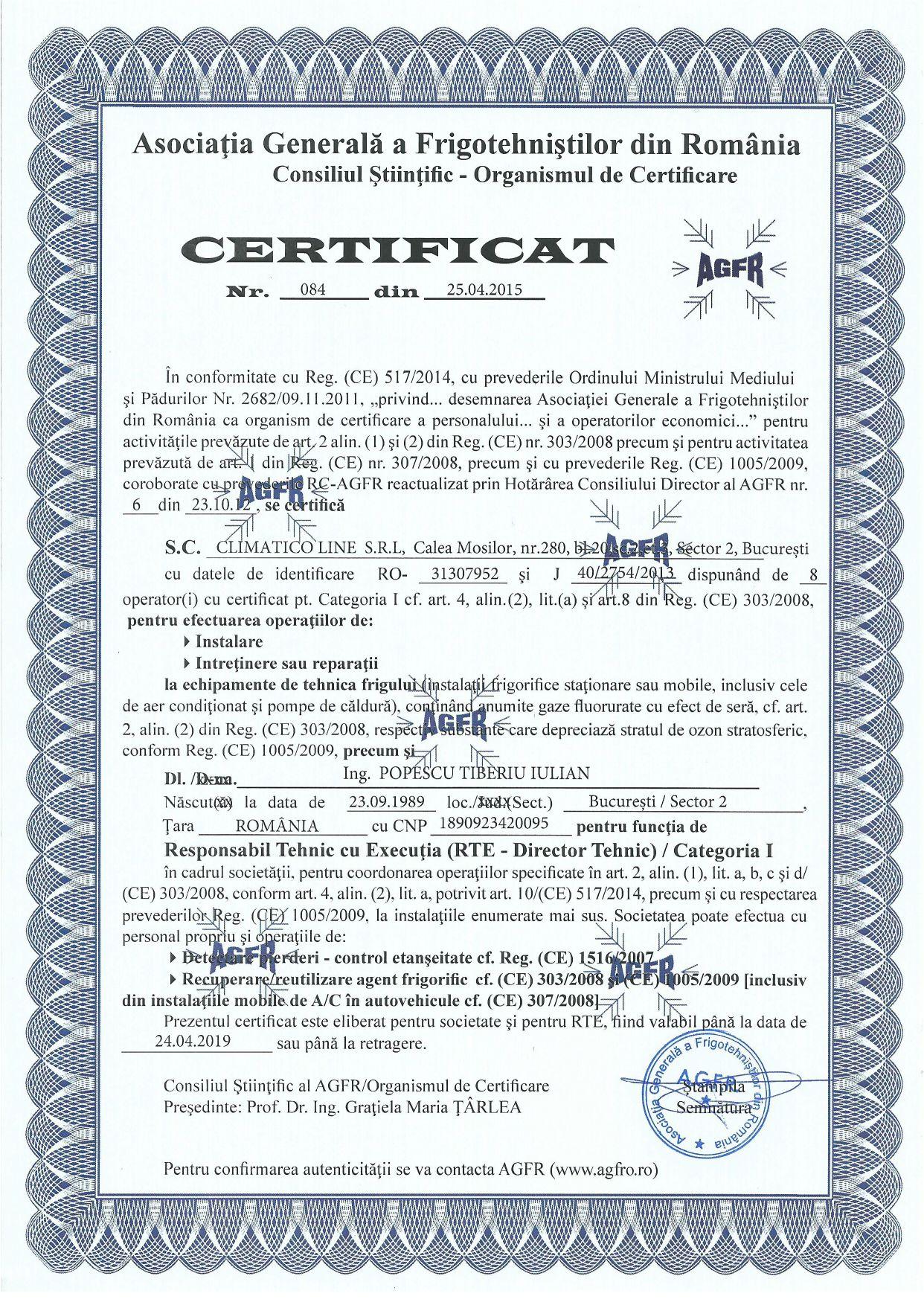 Climatico Certificare AGFR Asociatia Generala a Frigotehnistilor din Romania