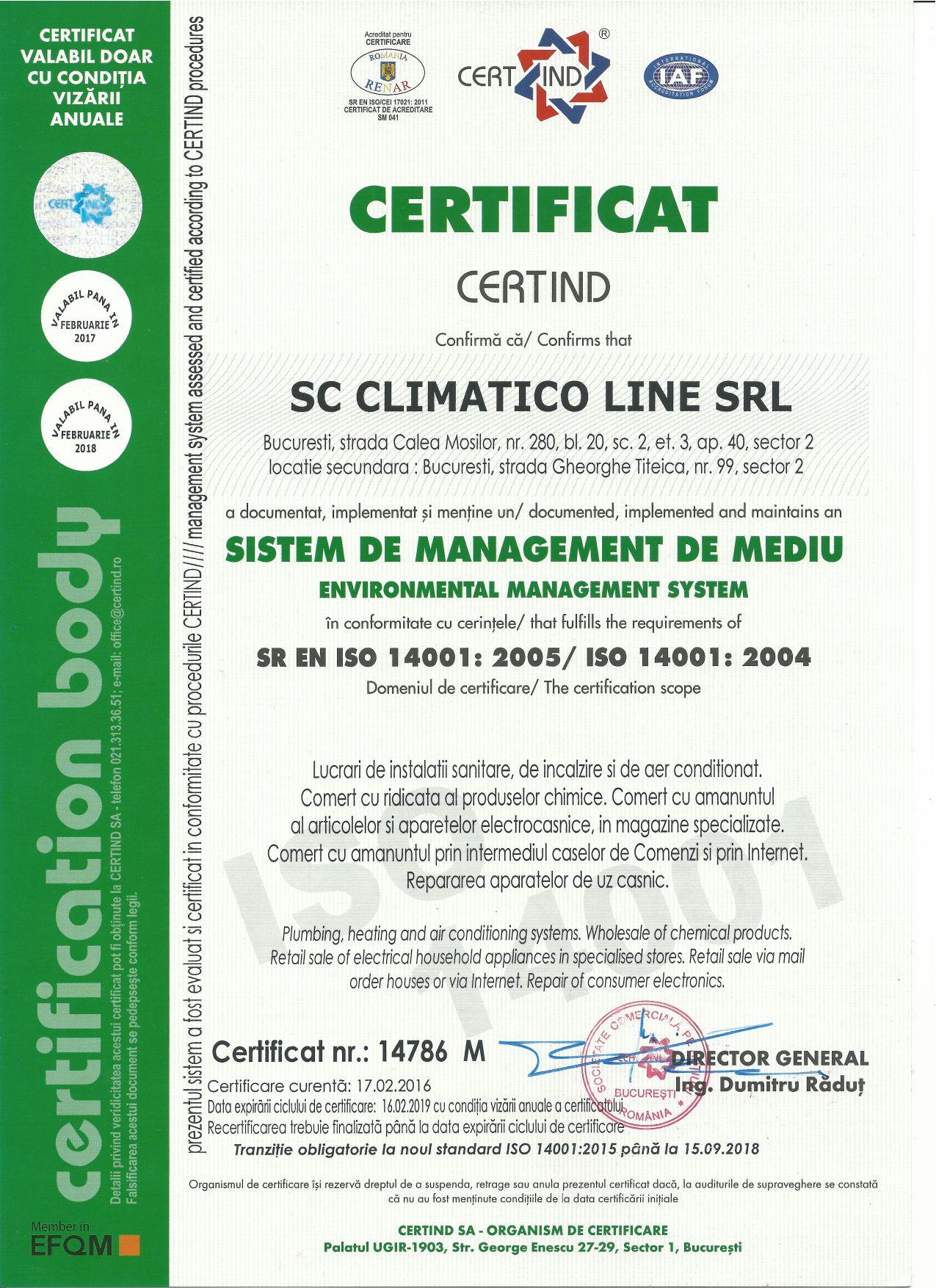 Climatico Certificare ISO 14001 2004