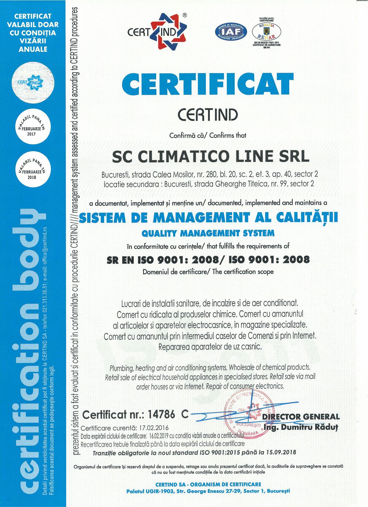 Climatico Certificare ISO 9001 2008