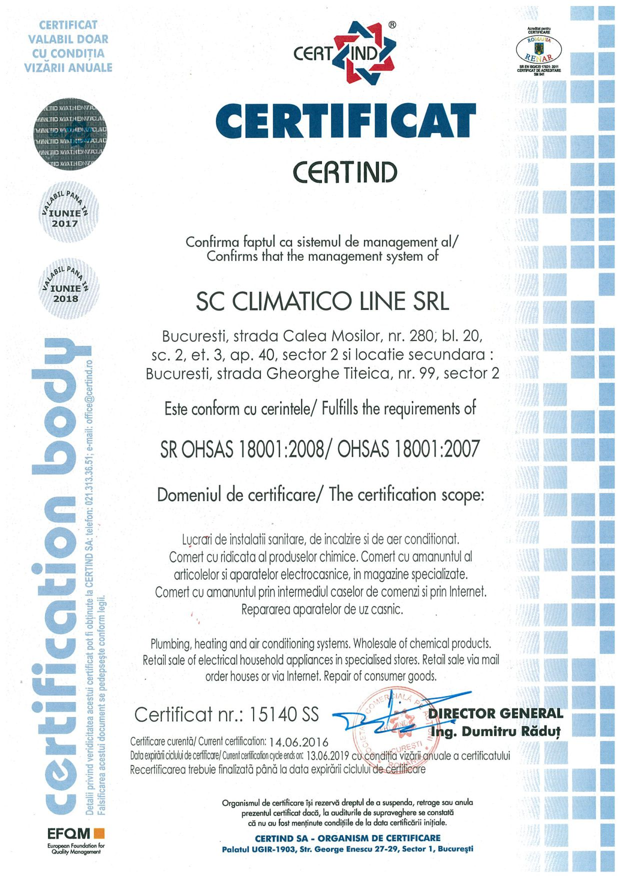 Climatico Certificare ISO OHSAS 18001 2007