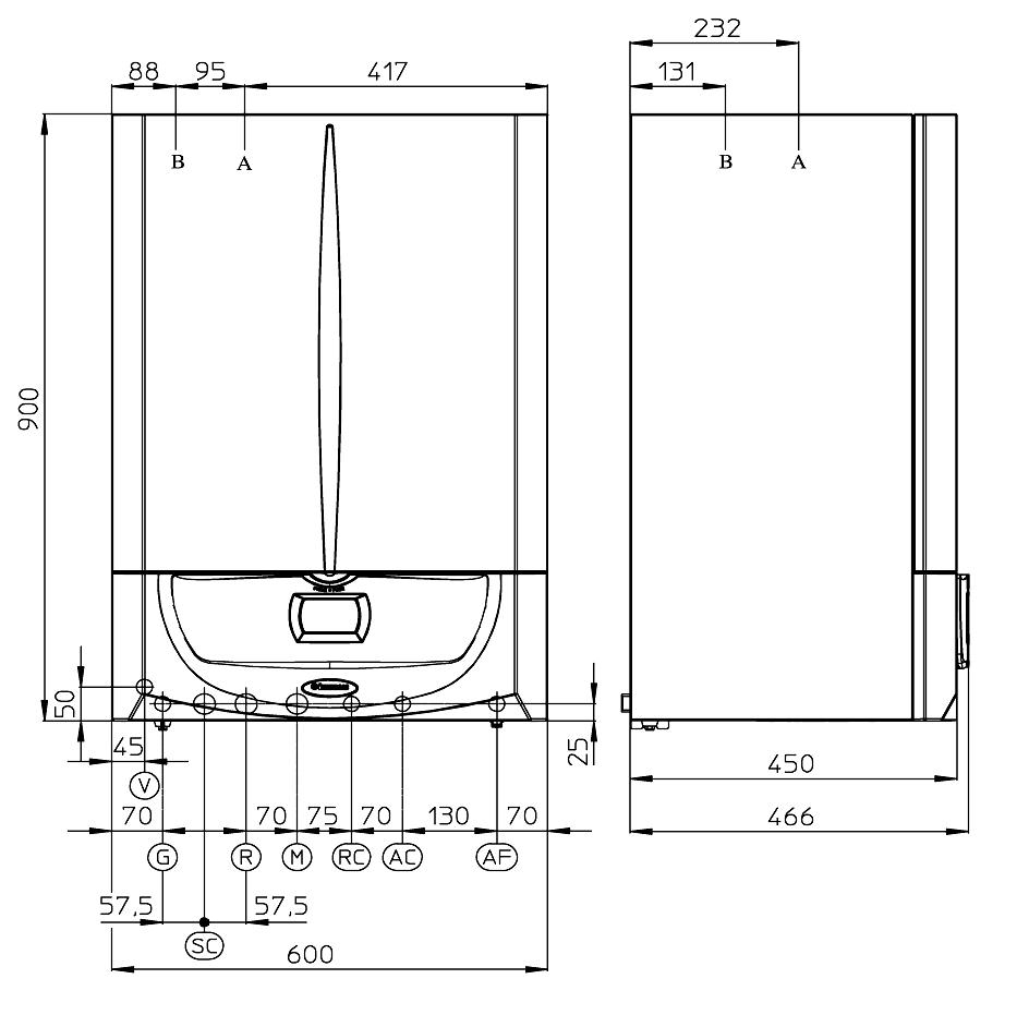 Centrala termica in condensatie cu boiler incorporat Immergas Victrix Zeus Superior 26-32kW - dimensiuni