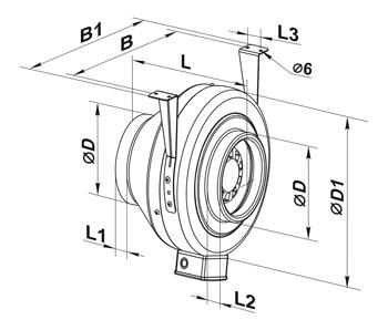 Dimensiuni Ventilator centrifugal in-line Casals BT3
